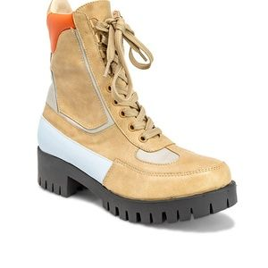 Chase + Chloe Shoes - Women's Lace Up Tan Ankle Combat Boots